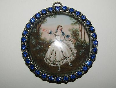 Beautiful,early Victorian, Detailed Miniature Painting With Original Paste Frame