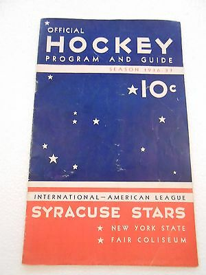 Official Vintage Syracuse Stars Hockey Program from 1936-37 Calder Cup