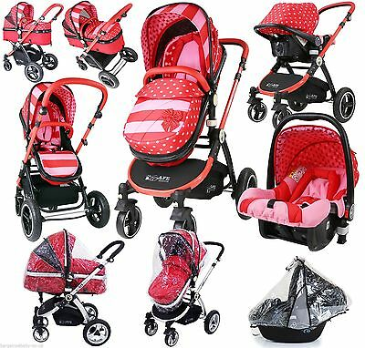 i-Safe Pram & Stroller - Bow Dots Travel System 3 in 1 With Carseat, Raincover