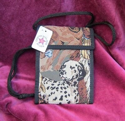 Tapestry Fabric DALMATIAN assorted dogs Wallet Purse w/Corded Strap