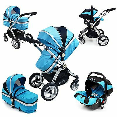 iSafe 3 in 1  Pram Travel System Ocean (Blue) + Car Seat