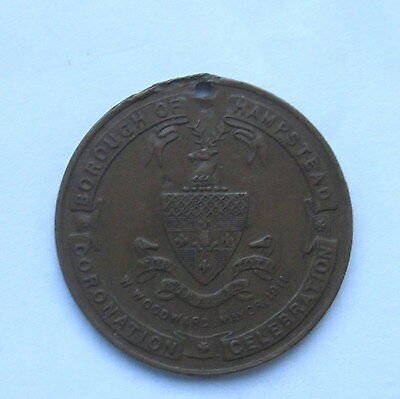 1911 KING GEORGE V CORONATION HAMPSTEAD 32mm BRONZE MEDAL COLLECTABLE