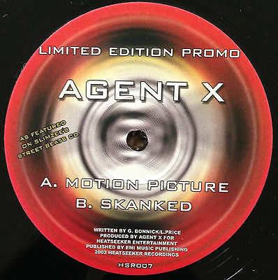 """Agent X - Motion Picture/skanked, Limited Edition Promo 12"""" Vinyl, Hsr007 (2003)"""