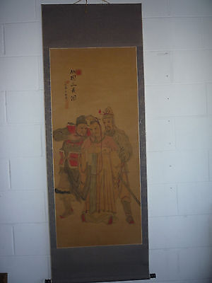 Antique Chinese Three Kingdom Characters Ink & Watercolour Painting Silk Scroll