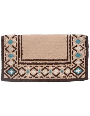 "Tough-1 Saddle Blanket Diamond Wool Handmade Heavy 36""x34"" Tan 35-9030"