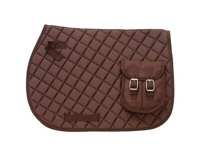 EquiRoyal English Saddle Pad Accessories Pocket Contoured Brown 30-995