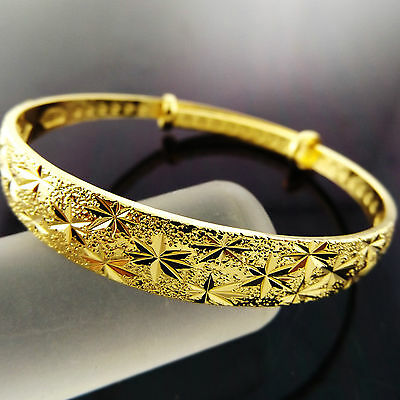 A894 Genuine Real 18K Yellow G/f Gold Engraved Adjustable Cuff Bangle Bracelet