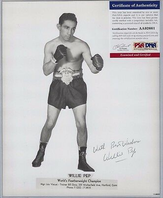 Willie Pep Autographed 8x10 Photo Professional Boxing Great PSA COA dec 2006