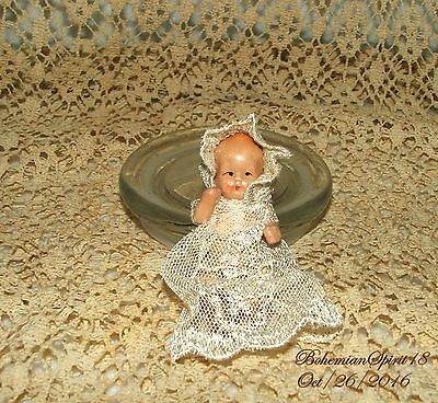 Antique Adorable Apan Baby Bisque Double Jointed Miniature 2'' Doll