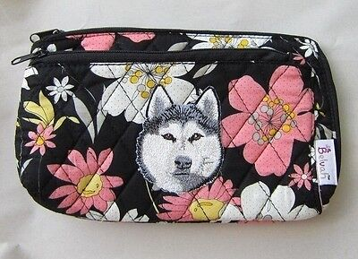 Q cosmetic HUSKY HEAD Quilted Floral Double Zipper Cosmetic Bag