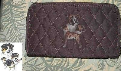 Q wallet AUSTRALIAN SHEPHERD Belvah Quilted Fabric Zip Around Brown Wallet