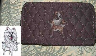 Q wallet SAMOYED Belvah Quilted Fabric Zip Around Brown Wallet