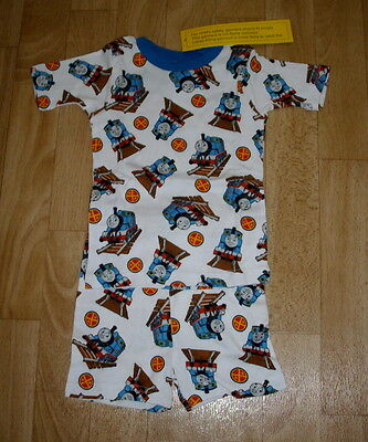 Boys Thomas The Tank White With All Over Print Short Pajamas Size 3T New Tags