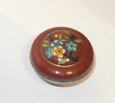 Chinese Cloisonne Red Enamel Floral Dome Shape Top Jar Bowl Box