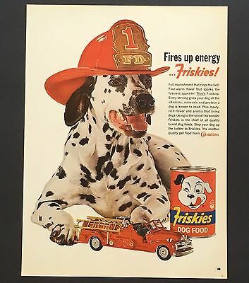 1962 Friskies Dalmatian Original Advertisement Dog Food AD Firetruck Fire Helmet
