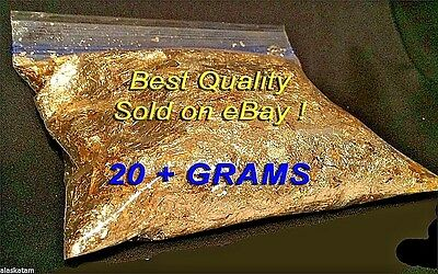 20 Grams of Premium Grade 24K Gold Leaf Flakes Guaranteed BEST - FREE SHIPPING!