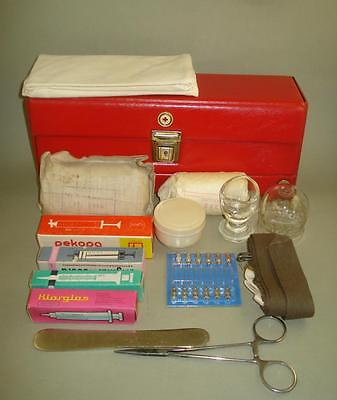 Vintage Old Small First Aid Bag with Medical Equipment  - Red Cross Bulgaria