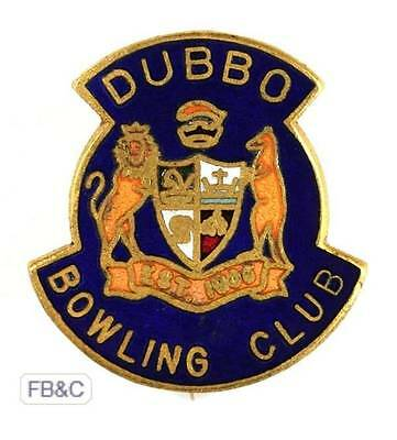 Vintage Dubbo NSW Bowling Club Enamel Badge  - Complete with Pin