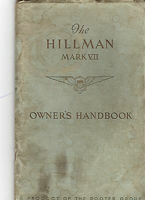 Hillman Minx Mark VII Owners  Drivers Instruction Handbook Issued 1953