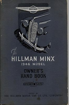 Hillman Minx  Issued 1946 Models Owners  Drivers Instruction Handbook