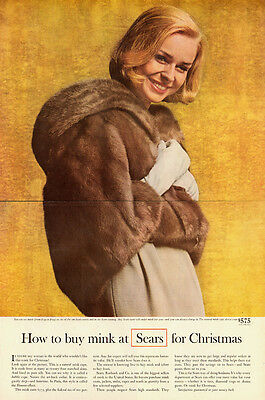 1963 vintage ad, REAL MINK COATS AT SEARS, Double page, Nice!-081313
