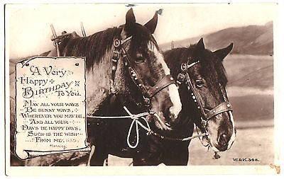 Old Postcard Birthday.  Harnessed Workhorses.w. & K Real Photograph, Posted 1924