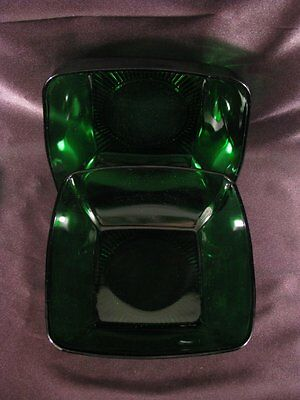 Anchor Hocking Glass Forest Green Charm Serving Salad Bowl Set of 2 Exc Cond 7.5