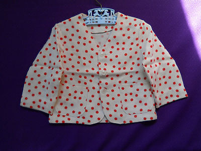 50's VTG Boys Red Polka Dot SUIT Jacket & Suspender White SHORTS Baby Toddler 3T