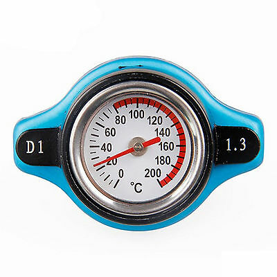 Universal 2 in 1 Car Gauge & Radiator Cap,Blue Steel Thermo Thermostatic 1.3 Bar