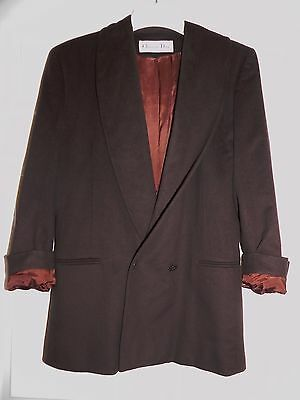 Vintage 80's Christian Dior Brown Wool Shawl Collar double breasted Jacket 6