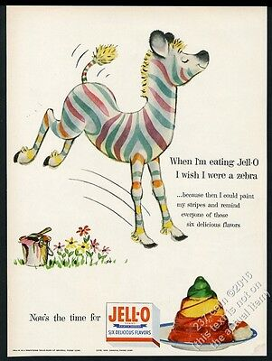 1955 Jello Jell-O colorful zebra art vintage print ad