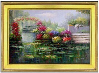 Framed, Monet Garden at Giverny Repro 12, Hand Painted Oil Painting 24x36in