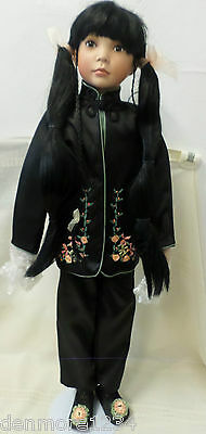 """Vintage Paradise Galleries 28"""" Asian Porcelain Doll With Box Fan And Stand"""