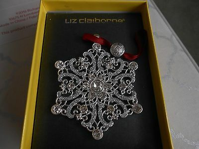 New LIZ CLAIBORNE SILVER TONE Crystal SNOWFLAKE CHRISTMAS ORNAMENT 2016 Gift