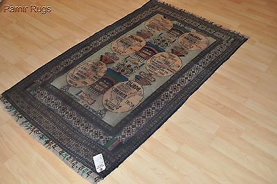 3 x 6 Tribal Beluch rug pictorial war rug. Afghan Russian Baloch collectable