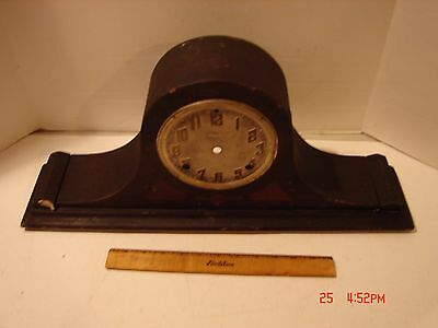 Vintage Ingraham Clock Mantle Shelf Wood Case Camelback Project Repair Part