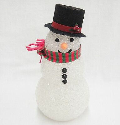 """Vintage Soft Plastic Snowman Christmas Tree Topper 8.5"""" Top Hat & Scarf"""