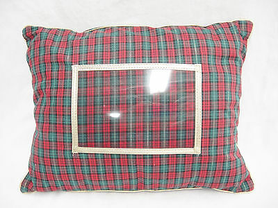 Red Green Tartan Plaid Christmas Pillow w 4x6 Photo Holder 10x13 Gold Trim