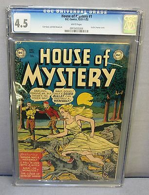 HOUSE OF MYSTERY #1 (First DC Horror Comic) White Pgs. CGC 4.5 Golden Age 1951