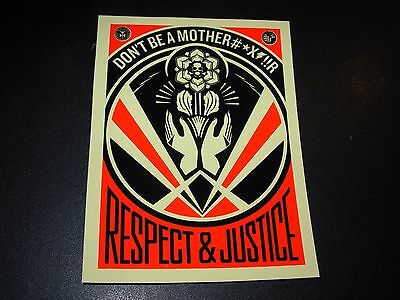 """SHEPARD FAIREY Obey Giant Sticker 4X5.5"""" RESPECT JUSTICE from poster print"""