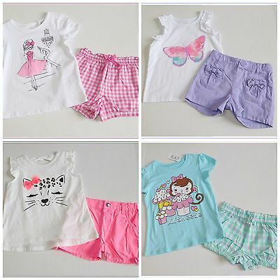 NWT Girls Children's Place 8pc Summer Lot Shirts Shorts sz 4t Butterfly Monkey
