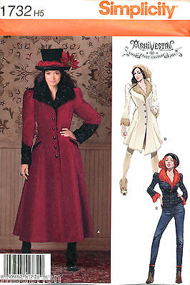 Simplicity Sewing Pattern 1732 Sz 14-22 Victorian Steampunk Coat, Jacket Costume