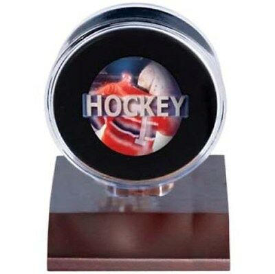(2) Ultra Pro Dark Wood Base Clear Hockey Puck Holder Displays Wooden Stand -NEW