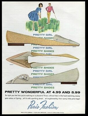 1962 Paris Fashion women's shoes 3 flats styles illustrated vintage print ad