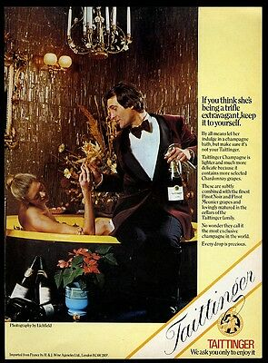 1974 Taittinger champagne woman in bath photo vintage print ad
