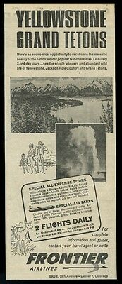 1963 Frontier Airlines Denver to Jackson Hole Wyoming vintage print ad