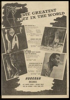 1954 Stan Getz photo & other albums art Norgran Records   trade print ad