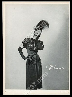 1946 Foxbrownie dress woman Francesco Scavullo photo vintage fashion print ad