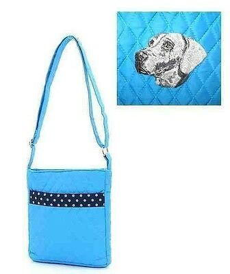 Q purse WEIMARANER Turquoise Quilted Microfiber Fabric Hipster Purse