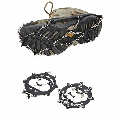 1Pair 8 Teeth Claws Crampons Non-slip Shoes Cover  Outdoor Ski Snow Hiking Black